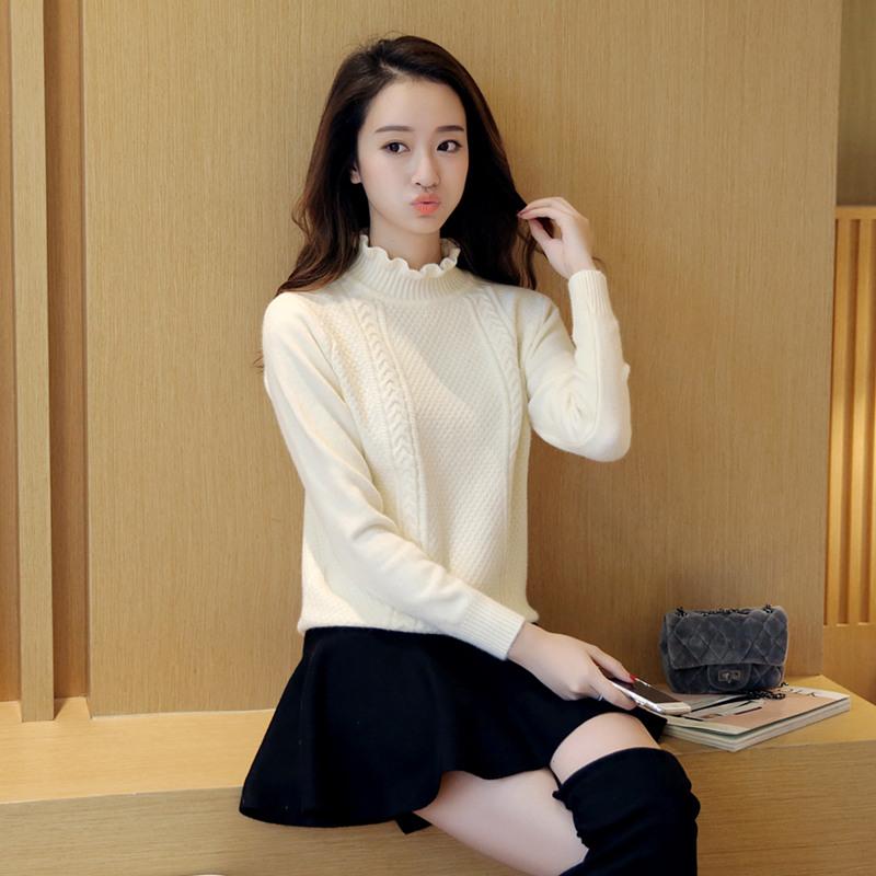 荷葉邊寬鬆白色打底衫