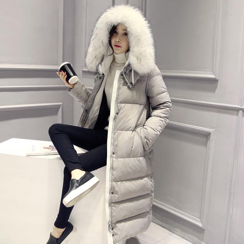 Корея, покупка 2015 зимний новый стиль длинный мягкий колено тепло супер большой воротник плюс размер вниз куртки женщин