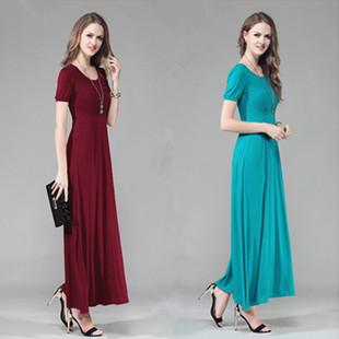 新款莫代爾修身長款連衣裙夏裝短袖大碼寬鬆顯瘦波西米亞大擺長裙