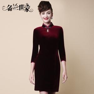 名兰世家婚礼妈妈装秋装高端金丝绒连衣裙中袖短款改良旗袍礼服女
