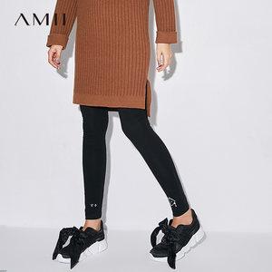 艾米Amii女装旗舰店2017秋装新款弹力显瘦外穿打底裤女长裤薄款