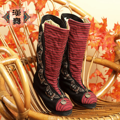 Chinese dance winter in old Beijing cloth shoes high women shoes boots long boots flowers into the sleeve stripes home