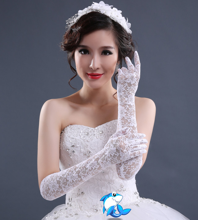 新款新娘结婚手套长款韩式蕾丝白色婚纱礼服花边配饰防晒手套