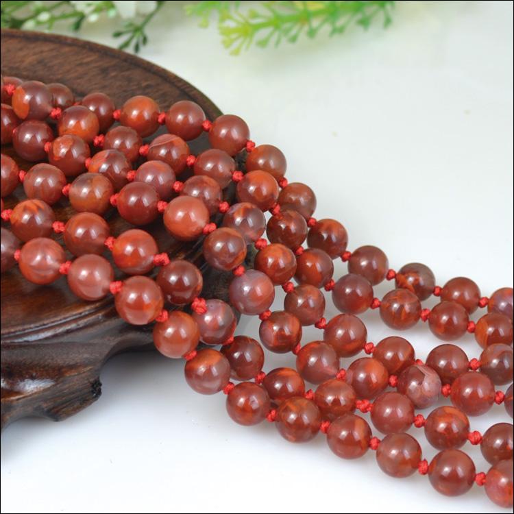 纯天然四川南红玛瑙108粒项链 佛珠念珠 正宗火焰红 直径8.5毫米
