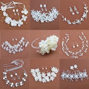 包郵新娘髮飾 韓式頭花花朵額飾頭飾手工紅白色飾品 結婚影樓配飾