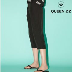 QUEENZZ Europe and the socialite new Joker Korean casual spring/summer wind 7 wide leg pants girl Korean version #