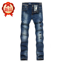 Autumn new mens jeans scrape bad hole fashion cowboy pants straight cultivate one's morality leisure jeans