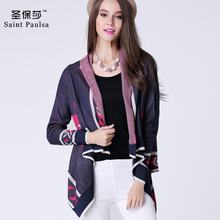 In the autumn of 2015 the new printing knitting cardigan air conditioning short loose sweater han edition tide female irregular skirt thin coat