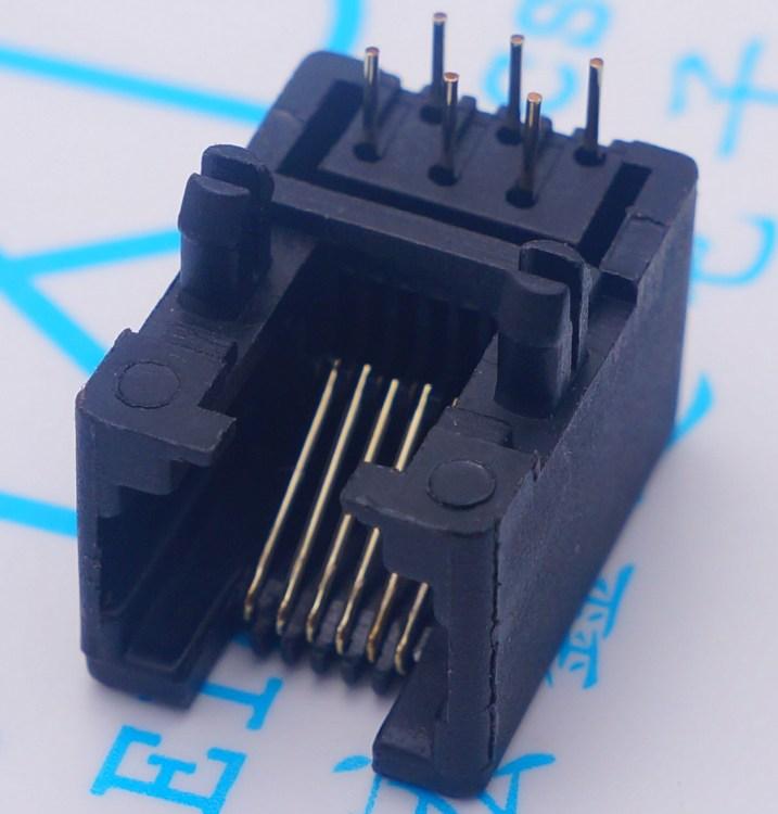 RJ11插座 95001 6P6 黑色6P6C RJ12电话插座 95001-6P6C母座