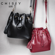 Qi Xian leather bucket bag handbag autumn 2015 new wave female Small Crossbody bag leather tassel shoulder bag