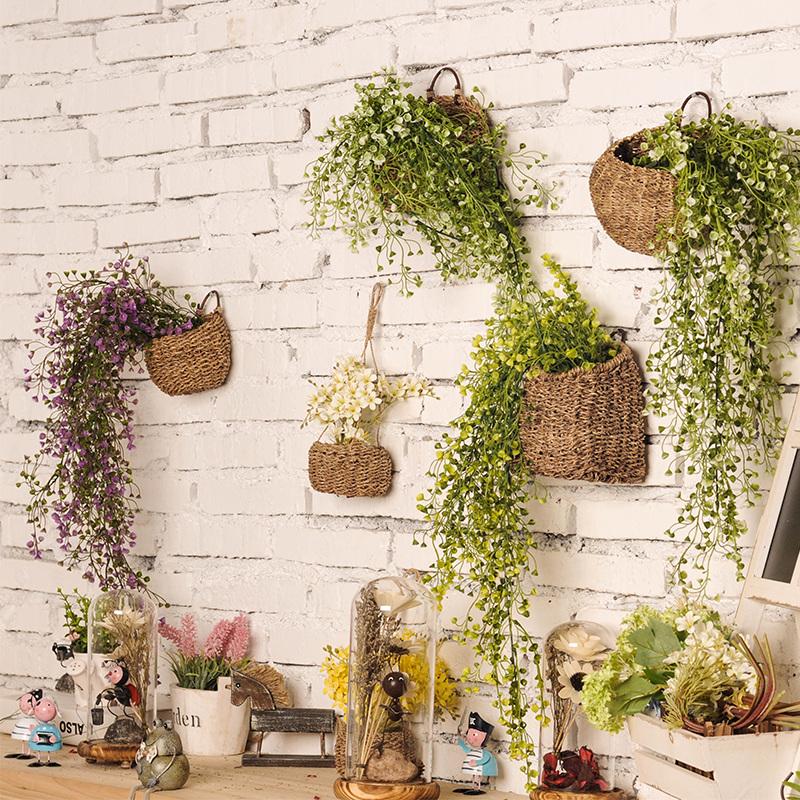 花籃仿真植物掛飾家居室內壁掛客廳牆麵牆上掛件牆壁軟裝飾品