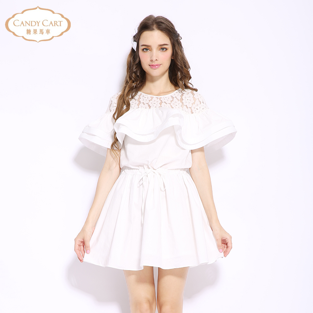 Candy carriage 2016 summer new womens dress solid color Ruffle high waist dress student show thin princess skirt