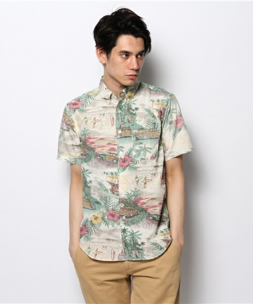 Japanese authentic spot flash report mens Bohemia beach holiday print fashion short sleeve shirt