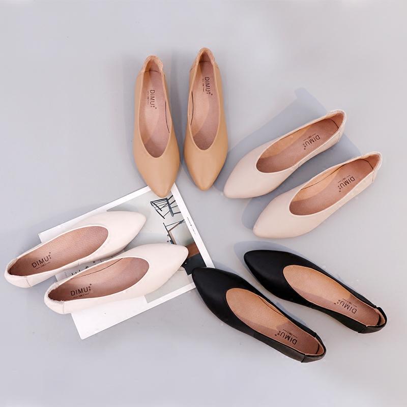 新款尖头复古奶奶鞋女平底浅口单鞋孕妇鞋春季透气真皮百搭玛丽珍