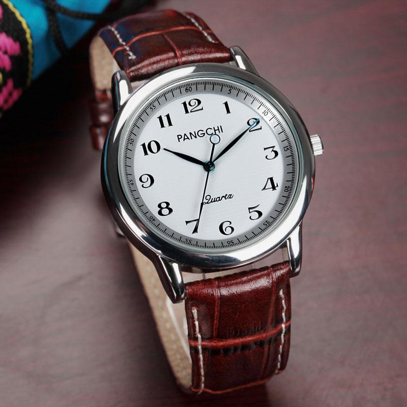 大表盤男表中老年手表防水男款女款手表皮帶國表 老人手表女表