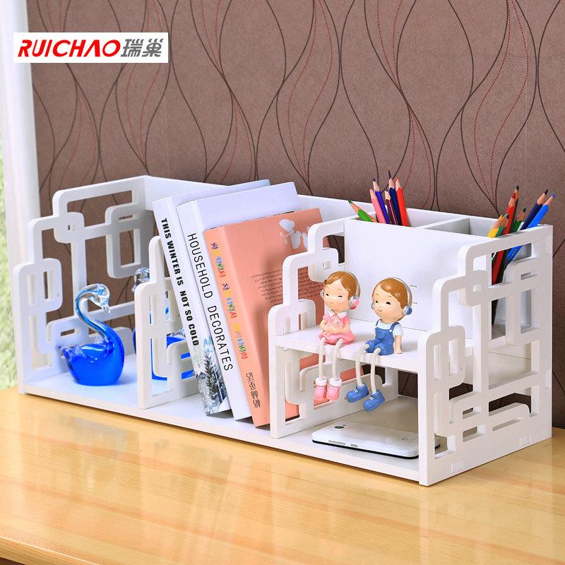 瑞巢 單層桌麵小書架帶筆架台麵架辦公桌收納學生桌上置物架