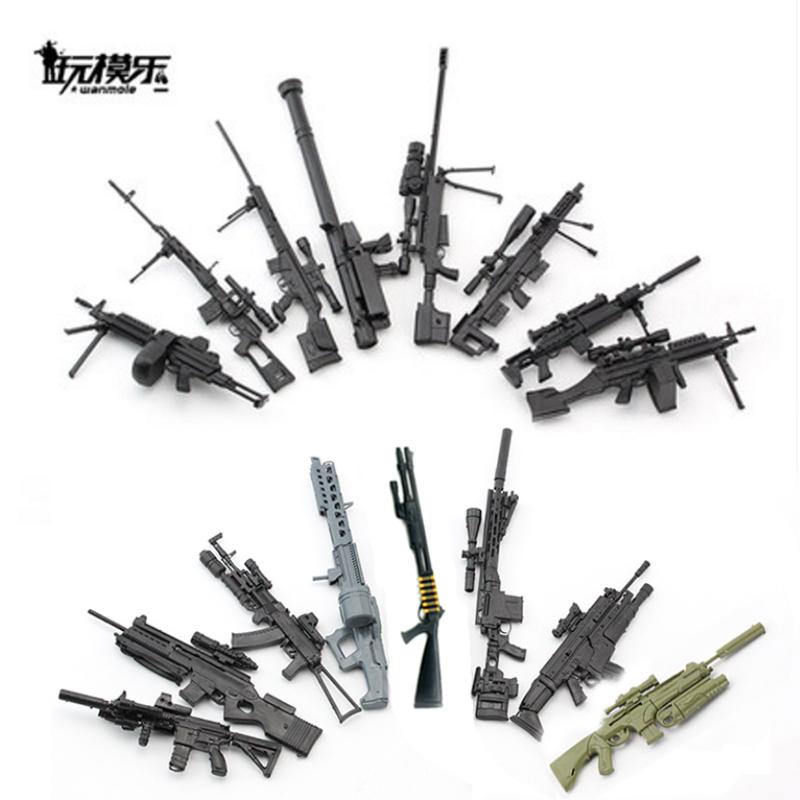 1:6拚裝槍模型懷舊兵人武器火箭筒AK47巴雷特三大蓋步槍加特林