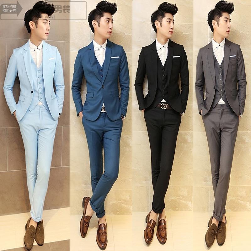 Осенние люди малые костюмы свадебное платье костюм мужской корейской версии города мальчик себя три куска костюм мужчины из Англии
