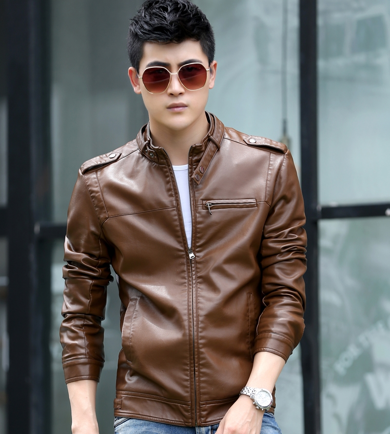 Spring and autumn mens leather clothes motorcycle single leather jacket Korean fashion collar slim casual Plush winter coat fashion