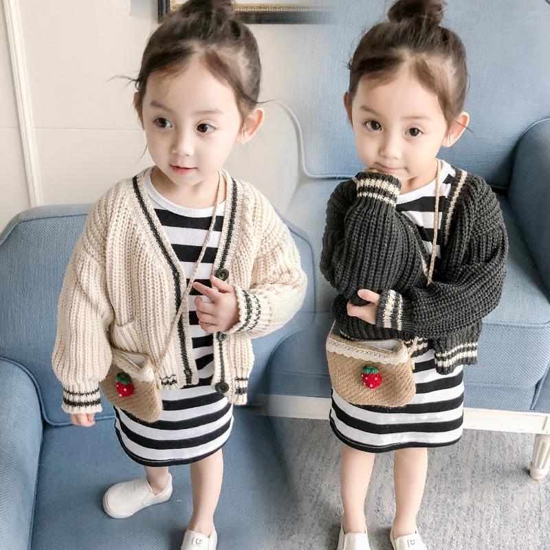 女童装休闲毛衣开衫春装2018新款儿童针织衫小童宝宝外套1-2-3岁4