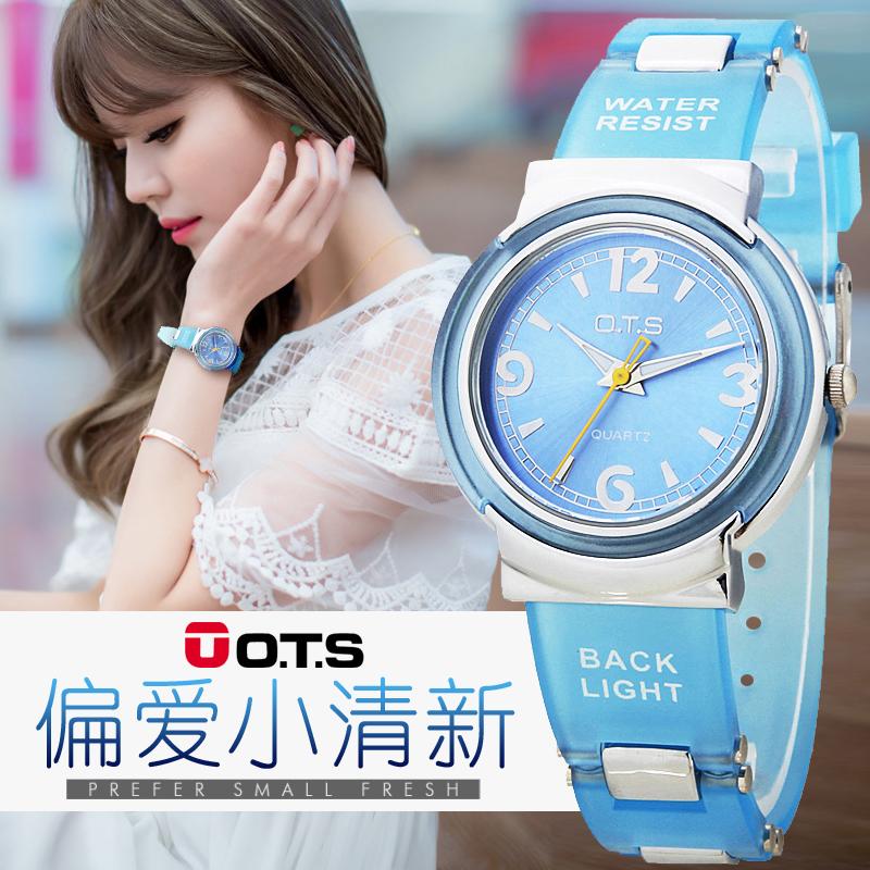 中學生手表女夜光防水小清新果凍手表潮兒童手表女孩少女手表