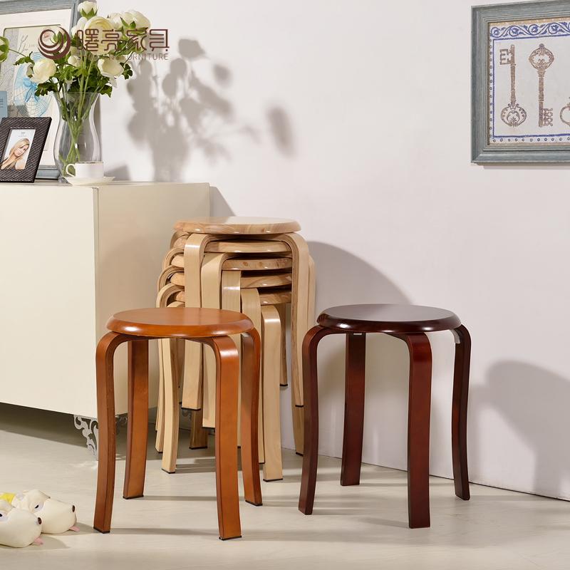 曙亮小凳子实木圆凳 时尚简约餐桌餐凳家用木凳 非塑料板凳特价