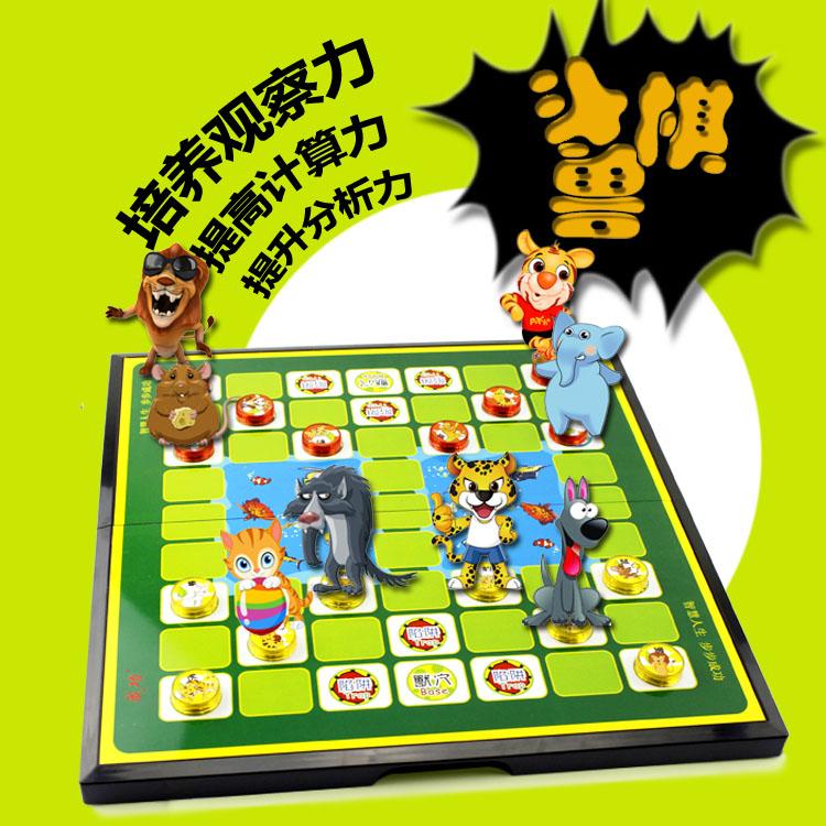 Подлинный магнитный магнит джунгли шахматы складные шахматная доска животное шахматы ребенок головоломка игрушка шахматы детский сад игра шахматы