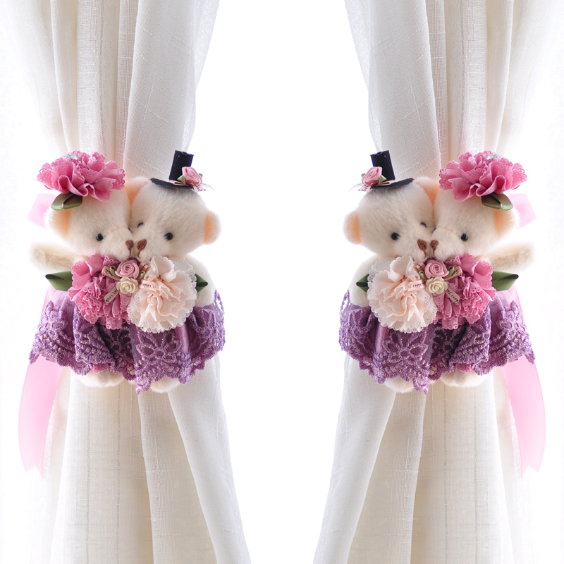 欣伊歐式卡通小熊係窗簾綁帶綁繩韓式 窗簾扣係帶 婚房裝飾