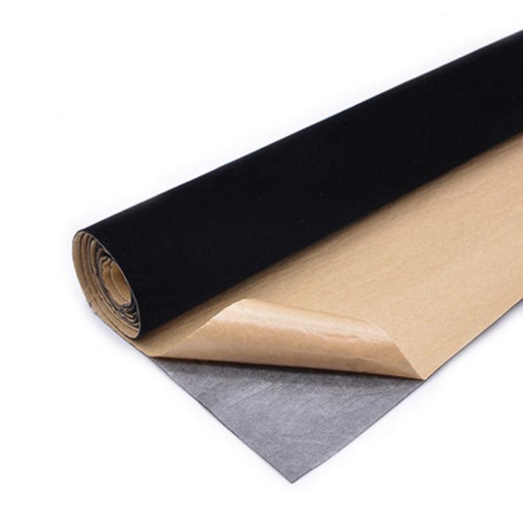 背胶自粘绒布 黑色加厚加密不干胶植绒布 带胶柜台绒布 礼盒包装