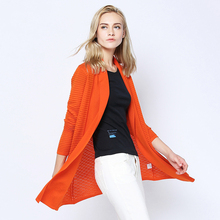 Meiwan Street spring and summer women's loose medium-length knitted cardigan long-sleeved sweater pure color sweater trend.