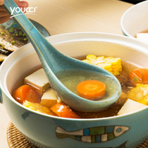 Youcci Porcelain Ceramics Large spoon major soup home hotel long handle large porcelain spoon sheng porridge spoon