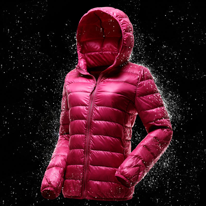 2019 new down jacket for womens fashion Korean style, mix and match light and short fit thin hooded large winter coat