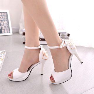 Christine wriggling fish mouth fine Princess 2015 summer styles with a Korean woman in high heels white buckle platform sandals