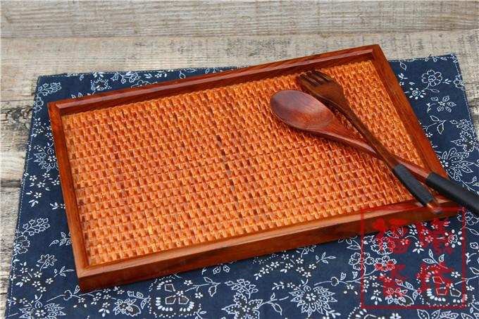 木制托盘 手工内藤编外实木盘 长方形茶盘 果盘 木质餐具特色托盘