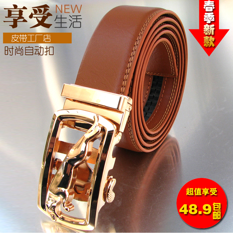 Leather belt for men, young people, Korean version, authentic trend, automatic buckle, yellow brown, business, leisure, mens belt, black orange