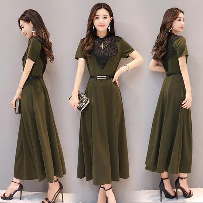 时尚长款收腰裙子夏季修身淑女气质复古短袖连衣裙女长裙A822p80