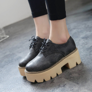 New England College wind autumn cake thick soled shoes laced with round head low shoes women's Chunky heels women shoes