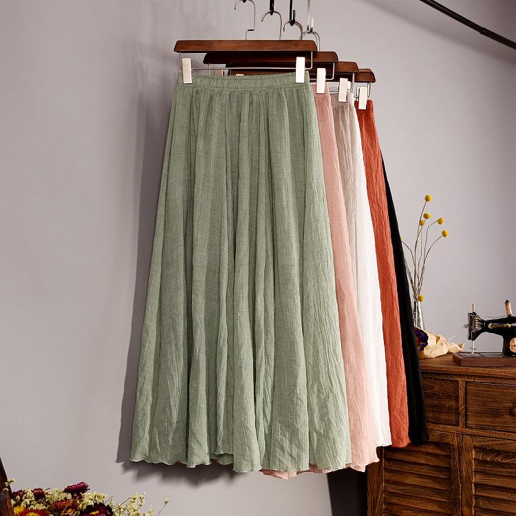 純色棉麻半身高腰百褶紗裙