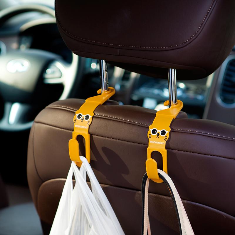 2个装 卡通车用挂钩 多功能汽车椅背挂钩车内座椅置物钩S钩