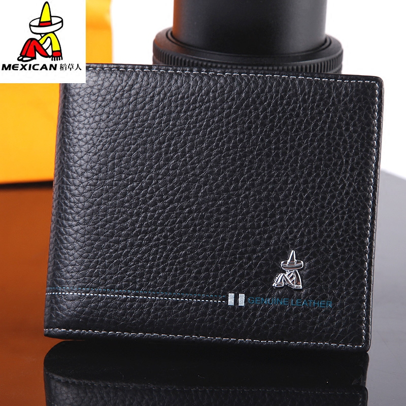 Scarecrow student short WALLET business casual horizontal wallet mens vertical genuine cowhide youth Wallet