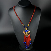 New Thai red agate, lapis lazuli, hand-knotted tassel necklace sweater chain enamel double fish a variety of optional