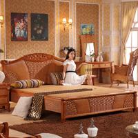 Индонезийская ротанговая мебель настоящая ротанг кровать ротанга деревянная кровать ротанга кровать двуспальная кровать один Мансардный настоящий ротанг 1,8 м. Кровать