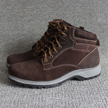 Winter men high foreign trade short boots for short boots leather head layer cowhide warm thickened cotton shoes with velvet