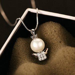 言爱小天使精美贝珠925银项链女 福星娃娃镶钻锆石短款锁骨链吊坠