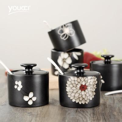 悠瓷 陶瓷家用调味罐带盖勺 日式创意调料罐子厨房糖罐味精罐盐罐