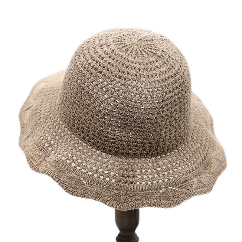 帽子春夏韩版出游休闲盆帽纯色网眼渔夫帽子女可折叠沙滩帽遮阳帽