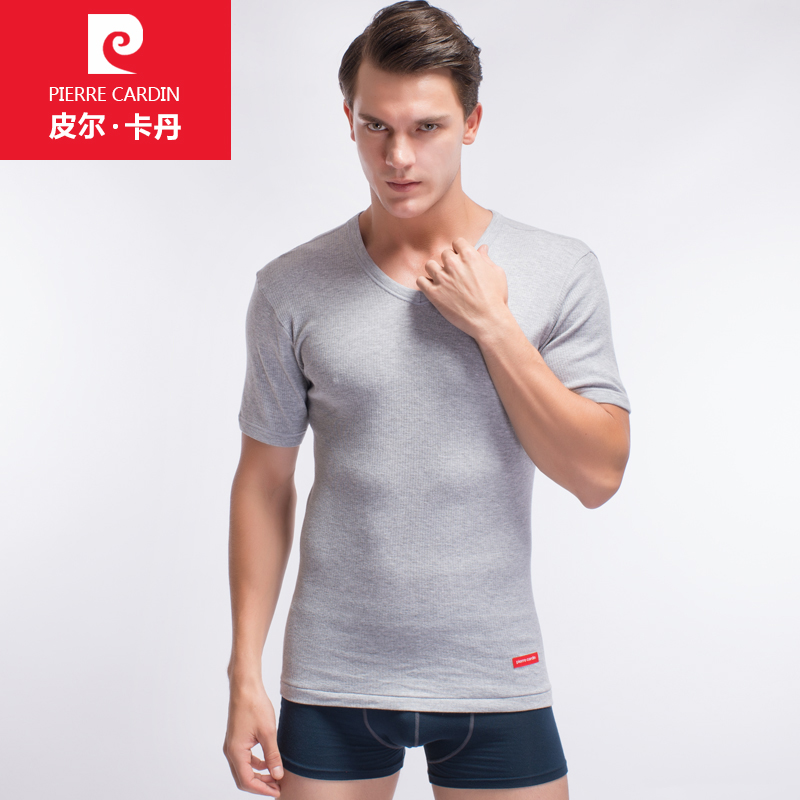 皮尔卡丹男士背心短袖纯棉修身型螺纹全棉青年内衣V领紧身短袖