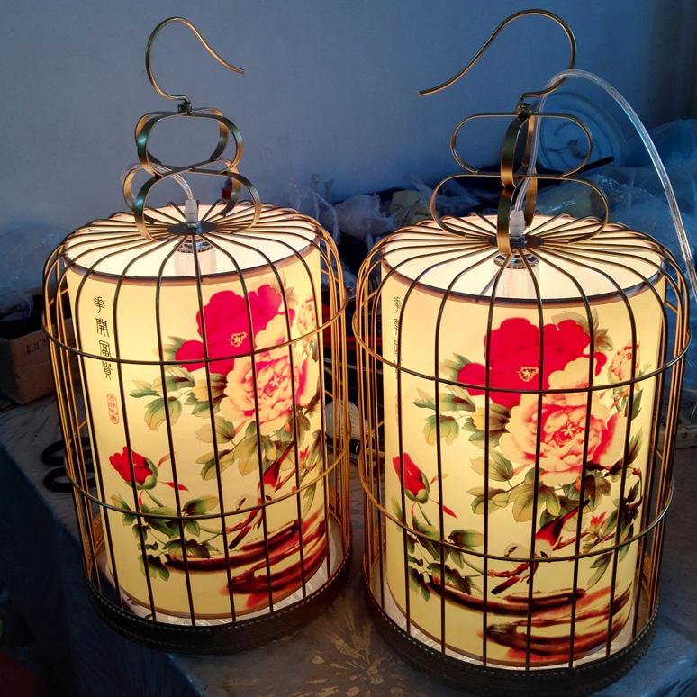 中式金色铁艺灯笼鸟笼吊灯 美式乡村灯 茶楼酒店大堂吊灯户外廊灯