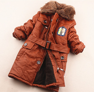 Winter paragraph leather boy boys cashmere leather thick leather jacket cotton jacket 130 150