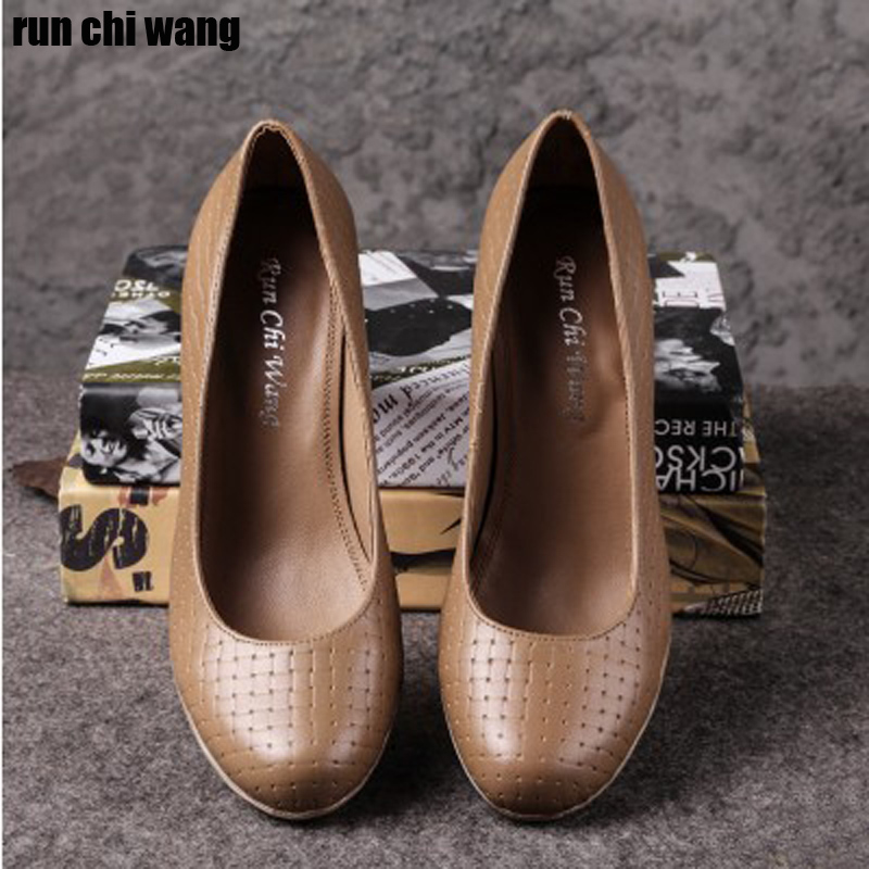 Spring and autumn new leather all cattle round head high heel one heel Korean waterproof platform thick heel anti slip shallow mouth womens single shoe